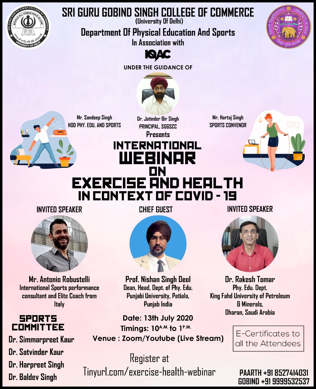 International Webinar on Exercise and Health in context of COVID-19