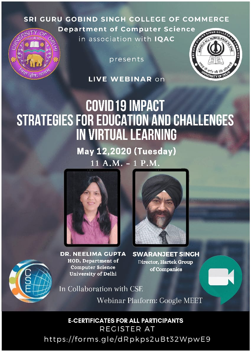 Webinar on COVID 19 Impact Strategies for Education and Challenges in Virtual Learning