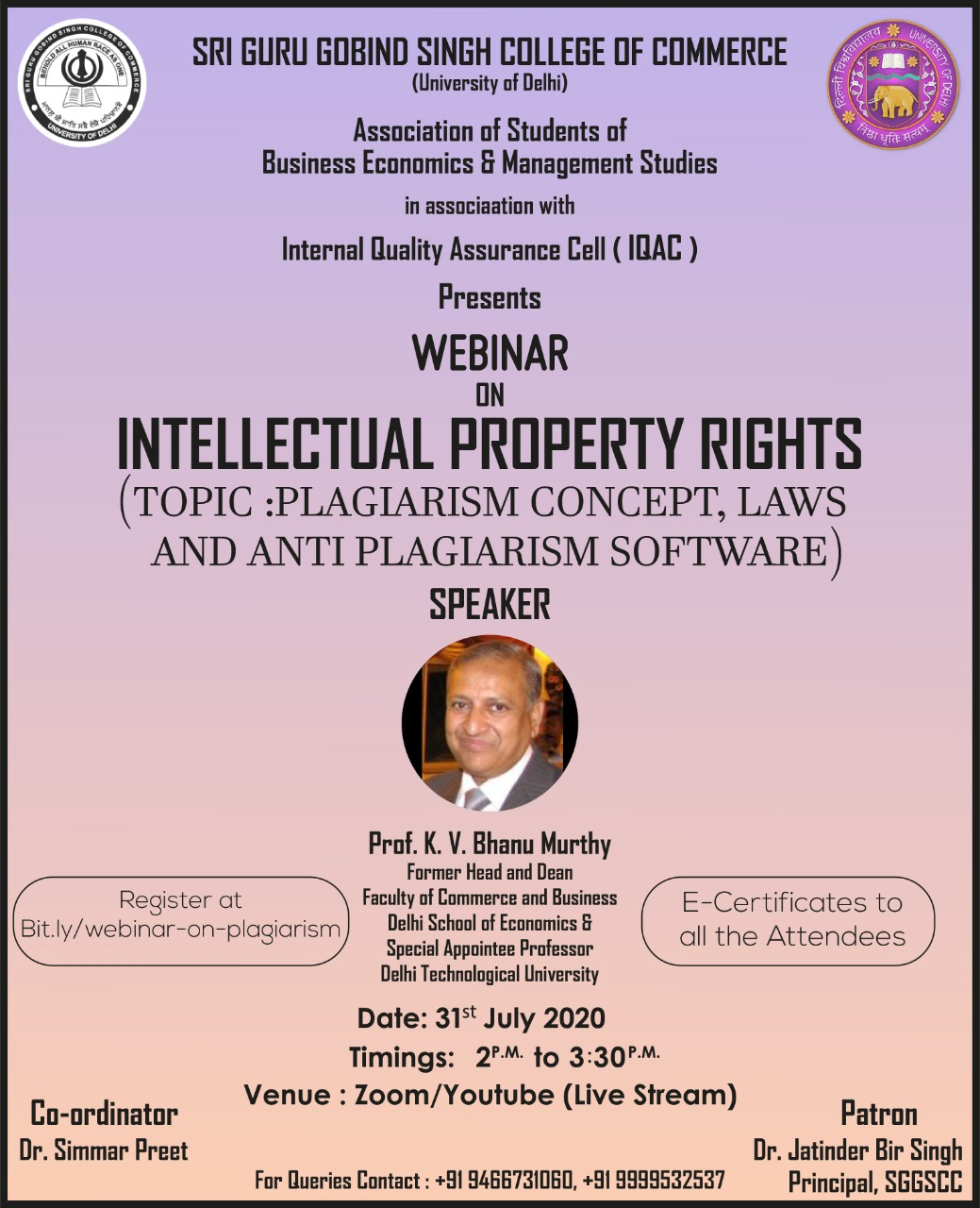 "Webinar on ""Intellectual Property Rights"